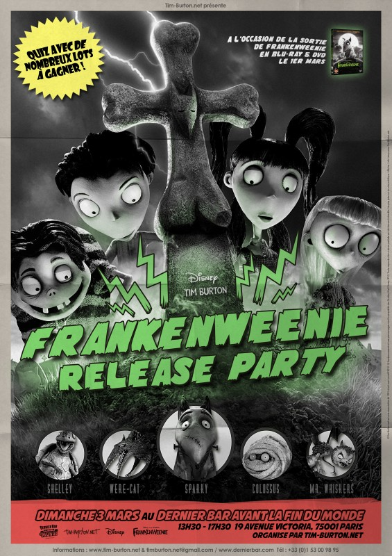 Frankenweenie Release Party poster A4