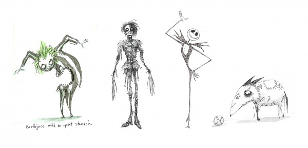 Beetlejuice, Edward, Jack Skellington & Sparky - Tim Burton sketches